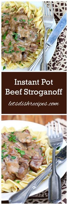 Instant Pot Cooking makes everything easier and quicker. Enjoy some hearty Instant Pot Beef recipes for your meals this week. Power Cooker Recipes, Pressure Cooking Recipes, Brownie Desserts, Pressure Cooker Beef Stroganoff, Food Dishes, Main Dishes, Coconut Dessert, Potted Beef Recipe, Pasta
