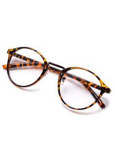 Brown Plastic Leopard Frame Round Glasses