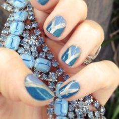 DIY Triangle Nail Art Blue & Silver Manicure