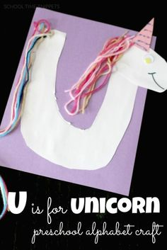 U is for Unicorn Preschool Alphabet Craft-- great way to introduce your child to the letter u and practice scissor skills!