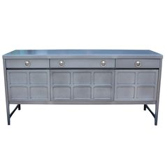 Great Light French Blue Grey Sideboard Chrome Handles | From a unique collection of antique and modern sideboards at https://www.1stdibs.com/furniture/storage-case-pieces/sideboards/