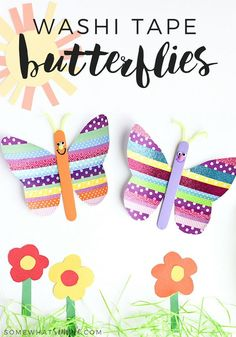 Washi Tape Butterflies - A fun Spring Kids Craft - Grab the kids, a few rolls of washi tape, and some basic craft supplies to make these super cute washi tape butterflies! #artsandcraftsshop,