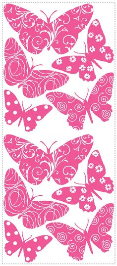 Pink Butterfly Wallpaper | Pink Velvet Butterfly Wall Stickers Decals Girls Room Decor
