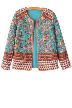 Paisley Print Long Sleeve Coat