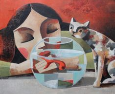 Oil on canvas 2018 - Didier Lourenço Art And Illustration, Illustrations Posters, Abstract Line Art, Cow Art, Art For Art Sake, Pretty Cats, Art Images, Oil On Canvas, Pet Portraits
