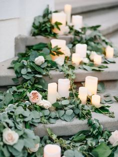 Eucalyptus and garland covered staircases: http://www.stylemepretty.com/2017/01/02/a-garden-party-wedding-like-youve-never-seen/ Photography: Steve Steinhardt - http://www.stevesteinhardt.com/