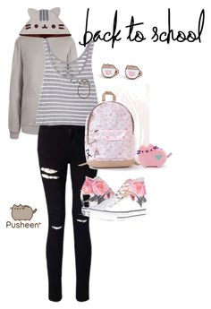 """#PVxPusheen"" by pamalina21 on Polyvore featuring Pusheen, Miss Selfridge, Converse, contestentry and PVxPusheen"