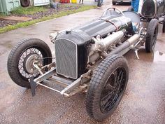 """the """"Amilcar Hispano"""" and has a 1916 Hispano Suiza V8 aeroplane engine mounted in a 1930 French Amilcar chassis frame. Drive to the rear axle is by chains. Only two speeds are needed because of the immense torque the engine puts out.  Aero-Engined Vintage Racers - THE H.A.M.B."""