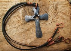 Hand Forged Cross Necklace by HiltandHammer on Etsy