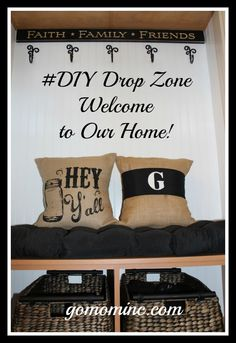 Love how this cheerful space welcomes us home each and every day =) #DIY Drop Zone Decor and Accents | gomominc.com