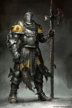 For Honor concept art , Guillaume Menuel on ArtStation at https://www.artstation.com/artwork/kOzqy. Yellow guardian knight