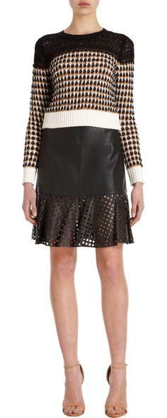 Vena Cava Mezcal Basket Stitch Sweater + Leather skirt
