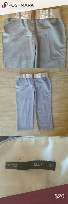 Light Gray Capri Pants with Belt Perfect capri for work or nice dinner. Gently used. No flaws. Maurices Pants Capris
