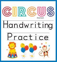 Handwriting Practice Circus Themed One Beautiful Home Superhero Kindergarten, Superhero Classroom, Preschool Writing, Preschool Learning Activities, Preschool Classroom, Circus Theme Classroom, Preschool Circus Theme, Circus Activities, Alphabet
