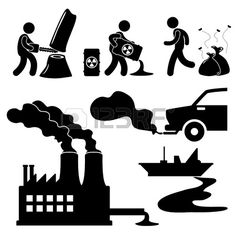 Global Warming Illegal Pollution Destroying Green Environment Concept Icon Symbol Sign Pictogram photo