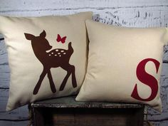 Child's deer & butterfly, monogram cotton pillows - set of 2 - perfect for a rustic woodland nursery - Pillow Inserts Sold Separately on Etsy, $43.00