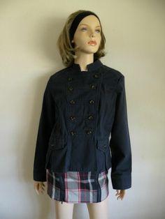 #Vtg #80s #Retro #Boho Navy #Blue #Band #Military Style Cotton #Jacket #Coat Sz S/M #fashion #retro #style