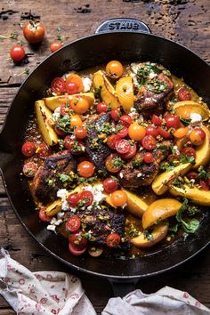 Skillet Moroccan Chicken With Tomatoes Peaches And Feta - Skillet Moroccan Chicken Spice Rubbed Chicken Pan Seared And Finished With Peaches Tomatoes And Lots Of Salty Feta Filled With Color And Flavor This Dish Is Pretty And Delishits Also Qui Moroccan Chicken, Cooking Recipes, Healthy Recipes, Thm Recipes, Milk Recipes, Kitchen Recipes, Cooking Tips, Recipies, Half Baked Harvest