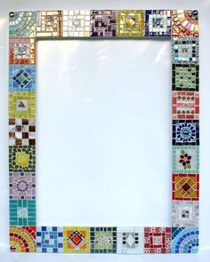 Love the quilted look. (cut free w/m paint chips into tiny squares, arrange, glue on, seal w clear coat spray) Mosaic Pots, Mirror Mosaic, Mosaic Wall Art, Mosaic Garden, Mirror Art, Mosaic Glass, Mosaic Tiles, Mosaics, Mosaic Crafts