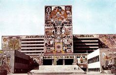 Vista de la fachada principal a lo largo de la Av. Xola durante la construcción con murales por Juan O'Gorman, Secretaría de Comunicaciones y Obras Públicas, Centro SCOP, Av. Xola y Av. Unversidad, Narvarte, Benito Juárez, Ciudad de México 1954