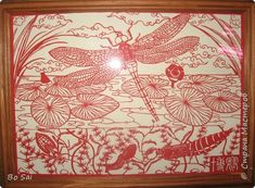 Картина панно рисунок Мастер-класс Материалы и инструменты Вырезание Стрекоза Цзяньчжи 蜻蜓剪纸 Бумага фото 1