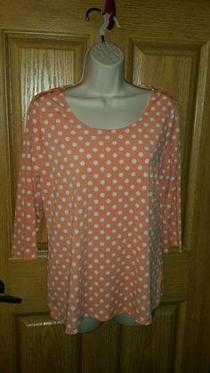 Susan Graver Liquid Knit Dot U neck Top with 3/4 Sleeves,  sz XS, Coral #SusanGraver #KnitTop