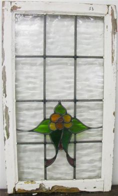 LARGE OLD ENGLISH STAINED GLASS WINDOW Petty Flower Design