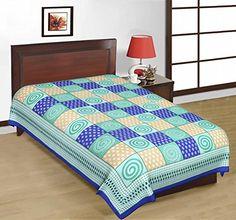 Odishabazaar Sanganeri Printed Cotton Single Bedsheet Bedcover in Blue Odishabazaar http://www.amazon.com/dp/B01CKXXZTM/ref=cm_sw_r_pi_dp_EX6.wb04QDRYE