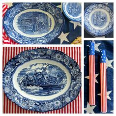 Liberty Blue dinnerware is very popular to collect. Distributed in the 1970's in honor of America's Bicentennial, the pattern depicts famous scenes in American History. - Fairhope Supply Co.