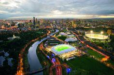Sky view of the new AAMI Park stadium - Melbourne, Victoria, Australia; designed by ARUP and Cox Architecture Melbourne Victoria, Victoria Australia, Australian Architecture, Art And Architecture, Round The World Trip, Sky View, Australia Travel, Melbourne Australia, Paris Skyline