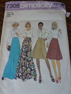 Gored Skirt Pattern Size 14 Waist 28  Long and Mid-length