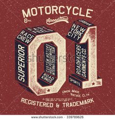 vintage racer tee print design with old effected