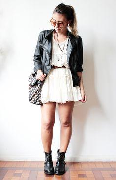 dress + jacket + boots