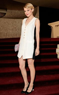 Jessica Stam in black & white colorblok   Tom Ford Vest Dress @ American Ballet Theatre's Opening Night Spring Gala, New York City