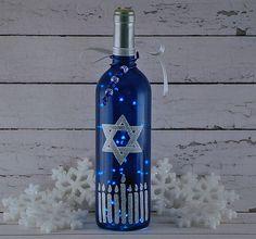 Hanukkah wine bottle light Star of David menorah by VauVicStudio