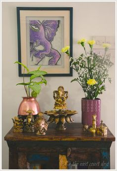 Ganesha corner - u need a big size tapeli and vase and an equally big sized Ganesha statue. Green and yellow col of plants and flowers look good together