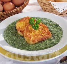 Lajos Mari konyhája - Spenótfőzelék bundás bagettel Hungarian Recipes, Hungarian Food, Kids Meals, Spinach, Recipies, Food And Drink, Rice, Vegetarian, Dishes