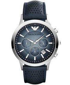 Emporio Armani Unisex Chronograph Renato Blue Leather Strap Watch 43mm AR2473