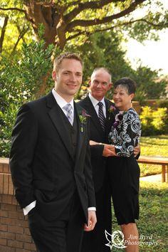 Groom with parents outside Marty Leonard Chapel Jim Byrd Photography #MartyLeonardChapel #FortWorthweddings #weddings