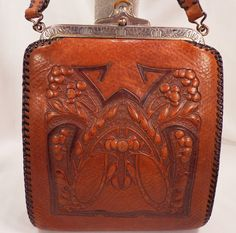 Vintage Brown Tooled Leather Arts and Crafts Purse Design on Both Sides