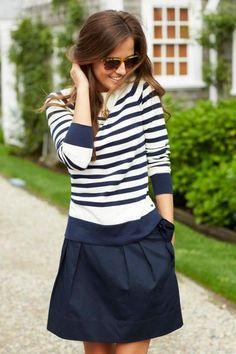 Striped shirt + navy skirt. Summer / spring style