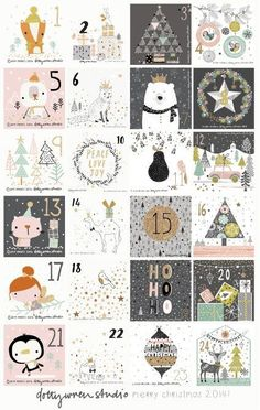 Illustrated Advent Calendar by dottywrenstudio Christmas Countdown, Noel Christmas, Winter Christmas, Christmas Crafts, Christmas Decorations, Xmas, Christmas Calendar, Christmas Tables, Nordic Christmas