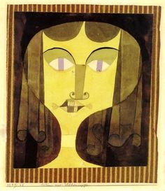 Paul Klee - Bildnis einer Veilchenäugigen, 1921. Watercolour, brush and ink over pencil on paper laid down on tissue paper