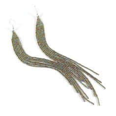 Shoulder duster earrings, Extra long earrings, Very long beaded earrings, Seed bead earrings, Silver and gold, New Year's Eve earrings,