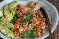 "Hot Summer Salad — Cauliflower ""Rice"" Scd Recipes, Vegetarian Recipes, Cooking Recipes, Healthy Recipes, Spiced Cauliflower, Cauliflower Dishes, Clean Eating, Healthy Eating, Chilis"