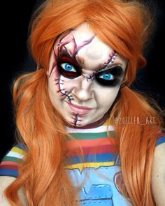 Make-up Chucky Doll - makeup-artistico - creepy halloween costumes Chucky Halloween, Amazing Halloween Costumes, Halloween Makeup Looks, Creepy Halloween, Halloween Make Up, Halloween 2018, Scary Doll Costume, Horror Makeup, Costume Makeup