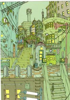 【楽天市場】画家・イラストレーター佐久間真人さんのポストカード★「乗換夜景」:ねこの引出し