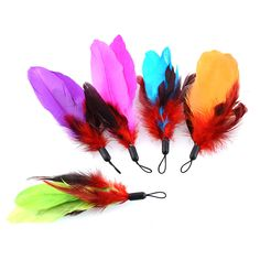 Colorful New Quality Fishing Pet 5 REFILLS Bird Feather Wand Cat Toy Kitten Toys Refill Home Drop Shipping