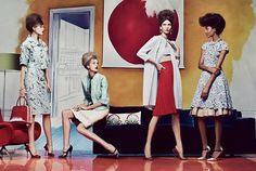 Title: Eternal Optimist  Magazine: Vogue US March 2012  Models: Caroline Trentini, Karlie Kloss, Jourdan Dunn, Frida Gustavsson, Aymeline Valade  Photographer: Craig McDean  Stylist: Grace Coddington