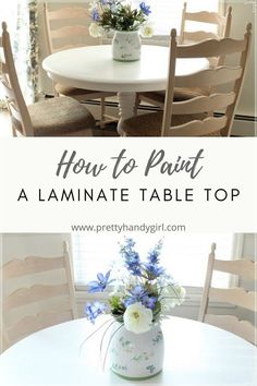 Over the summer I purchased this laminate dining table at a yard sale to use in my dining room. After storing the table for several months, I finally decided to pull it out of storage and give it a beautiful new finish with bright white paint. Painting Laminate Table, Laminate Table Top, Dining Room, Dining Table, Yard Sale, White Paints, Bright, Table Decorations, Storage
